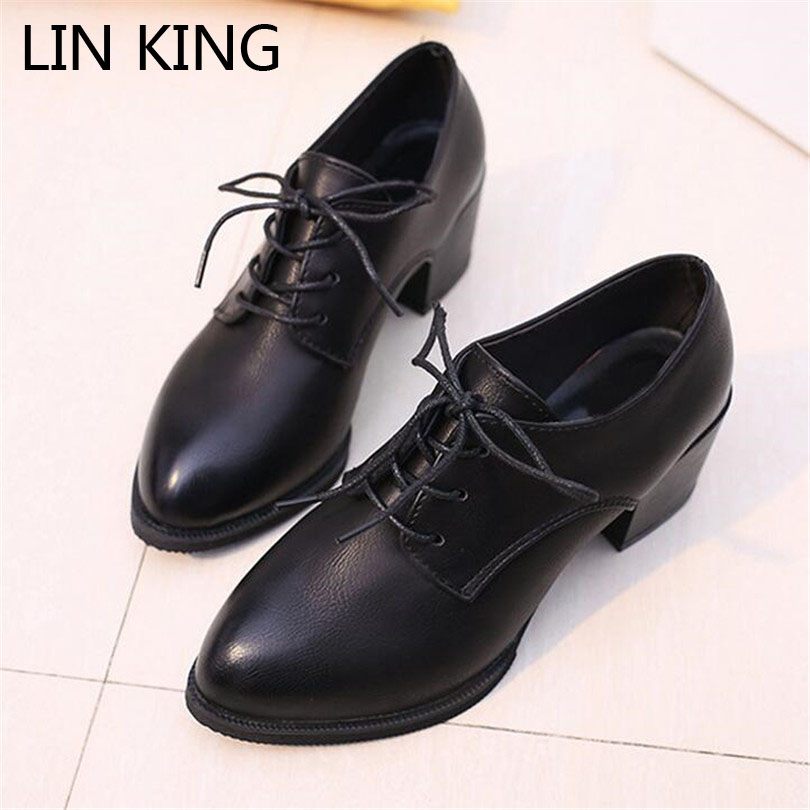 LIN KING New Arrive Pointed Toe Women Square Heel Pumps Casual Retro Woman Leather Shoes Sexy Comfortable High Heel Girls Shoes lin king fashion pearl pointed toe women flats shoes new arrive flock casual ladies shoes comfortable shallow mouth single shoes