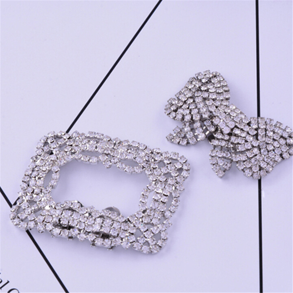 Square Bowknot Shape Clips Rhinestone Shoes Buckle Elegant Silver Color Shoe Decorations For Women Girl 2Styles