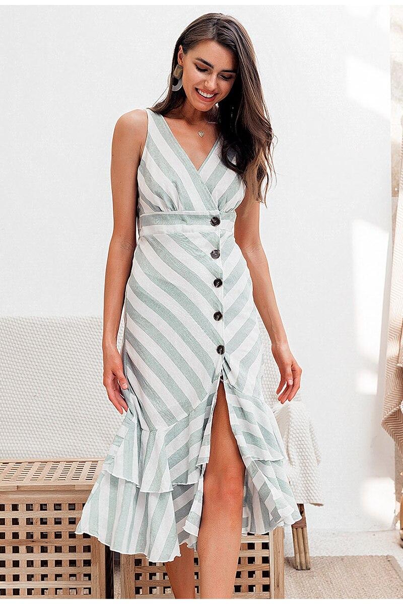 Simplee Vintage striped women long dress summer V neck buttons ruffle linen dresses Holiday sexy female beach dress 6