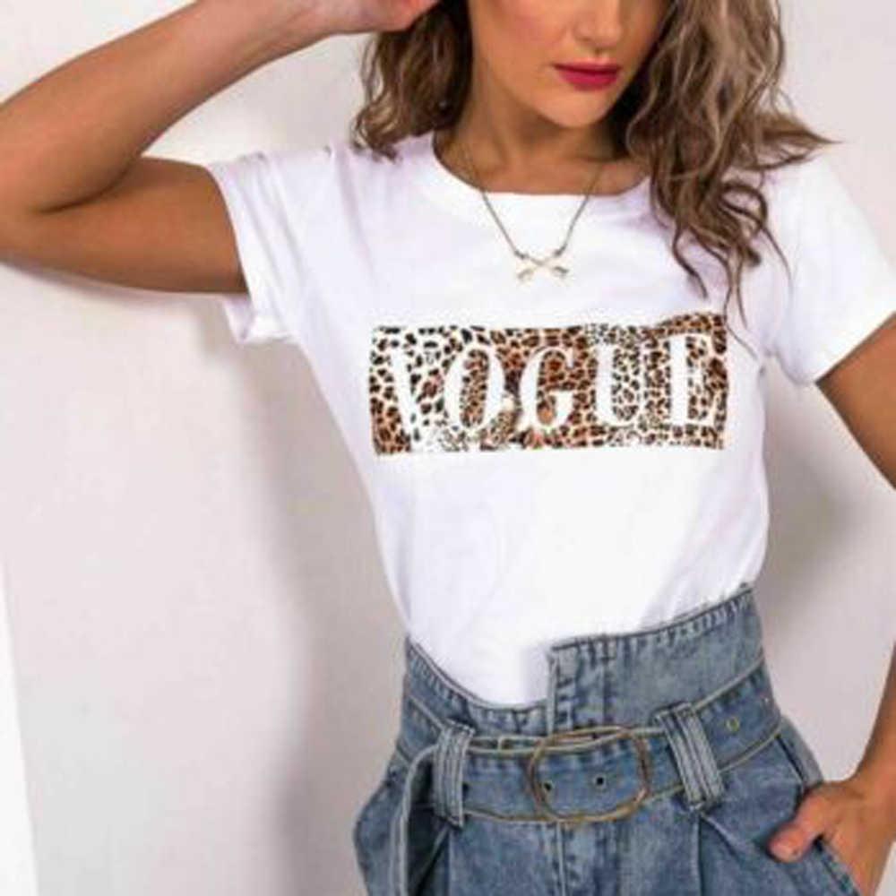Sexy Léopard Imprimé T-Shirts Hauts Femmes O COU T-shirt À Manches Courtes D'été Dames VOGUE LETTRE Impression T-shirt Tops WDC2090
