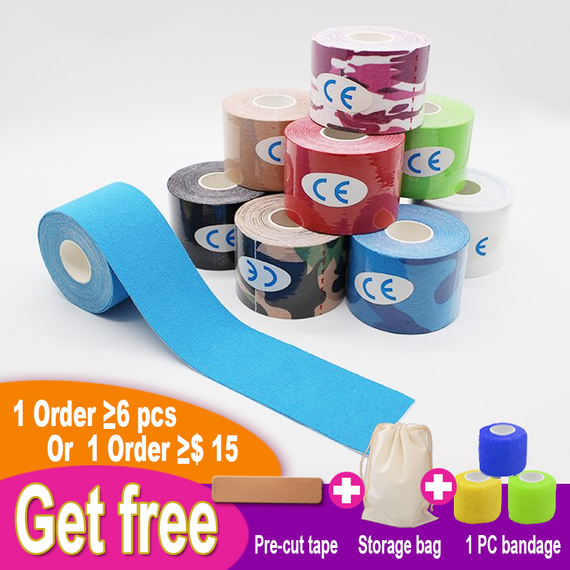 6pcs 5cmX5m Waterproof Hypoallergenic Cotton Elastic Muscle Energy Tape Sport And Fitness Kinesiology Tape Wrap