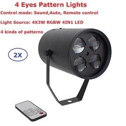 2 paczka Mini LED 4 oczy wzór światła wysokiej jakości 4X3 W RGBW Quad kolor LED etap efekt 110-240 V na boże narodzenie dekoracji