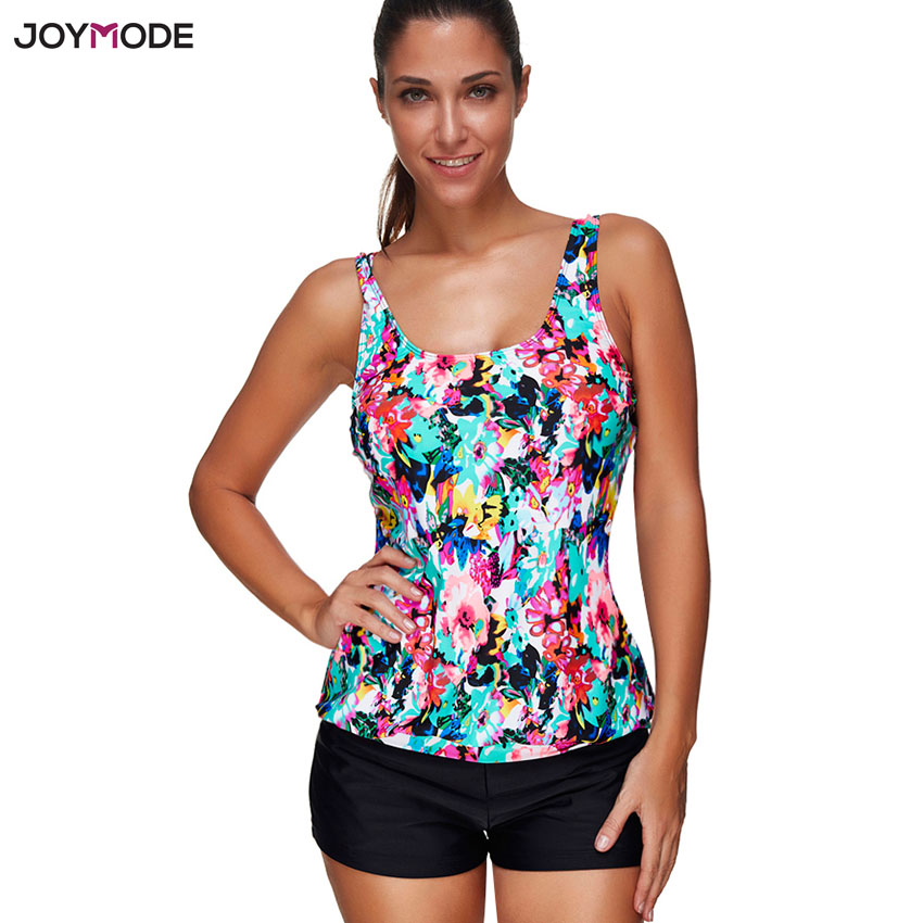 Summer beach wear women two pieces sporty tankini swimsuit for girls floral printed padded swim maillot de bain femme