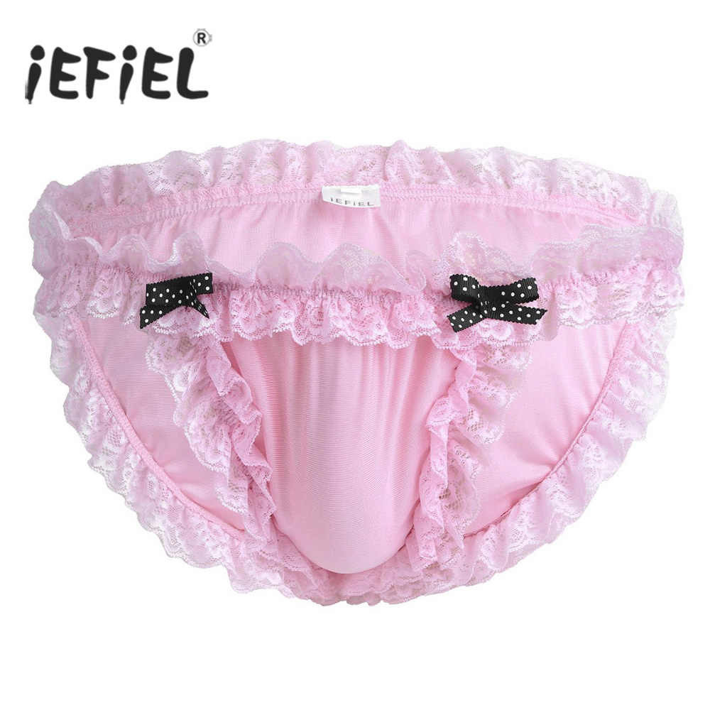 Gay Sexy Panties for Mens Lingerie Sissy Pouch Maid Floral Ruffled Lace Bikini Briefs Low-rise Jockstraps Underwear Underpants