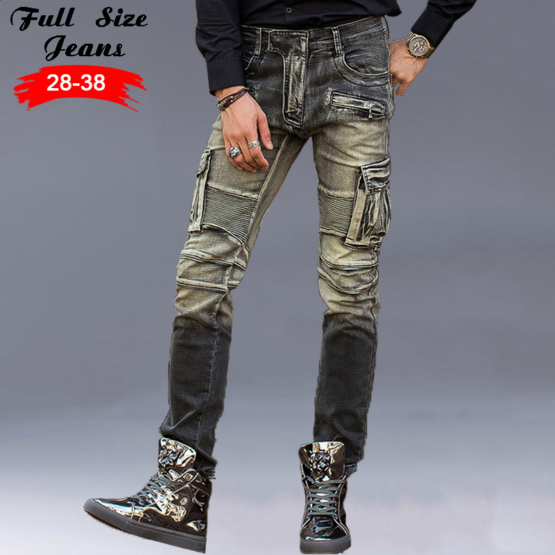 ФОТО Men'S Acid Wash Design Pockets Slim Plus Size Biker Jeans Stretch Big Yards Denim Pants Long Trousers Moto Pockets Cargo Pants