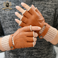 Fashionable Man Half Finger Sheepskin Gloves Autumn Winter Fingerless Knitted Cuff Warm Real Leather Driving M56