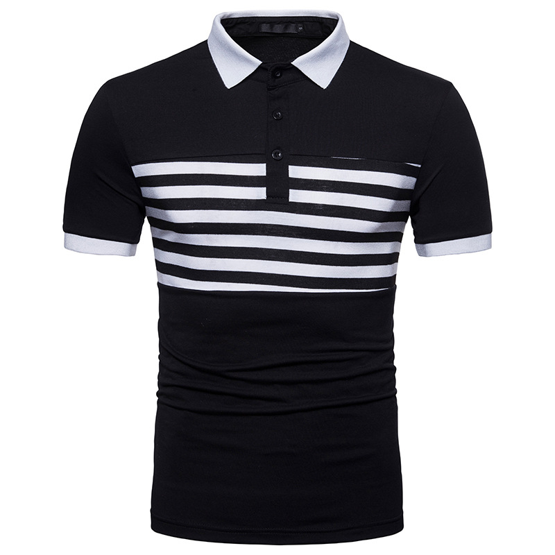 Striped   Polo   Shirt Men 2018 Summer Brand New Cotton Mens   Polo   Homme Casual Slim Fit Breathable Camisa   Polo   Masculina Black XXL