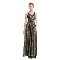 TFGS Original Design Vintage Black Organza Long Dress Spaghetti Strap V Neck Print Elegant Women Dress
