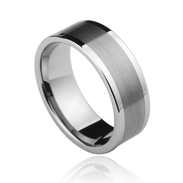 Classic  Unisex 85.7%  Tungsten Rings 4mm/6mm Silver Tone Flat Top Comfort Fit Scratch Proof Size 4-11 and half size