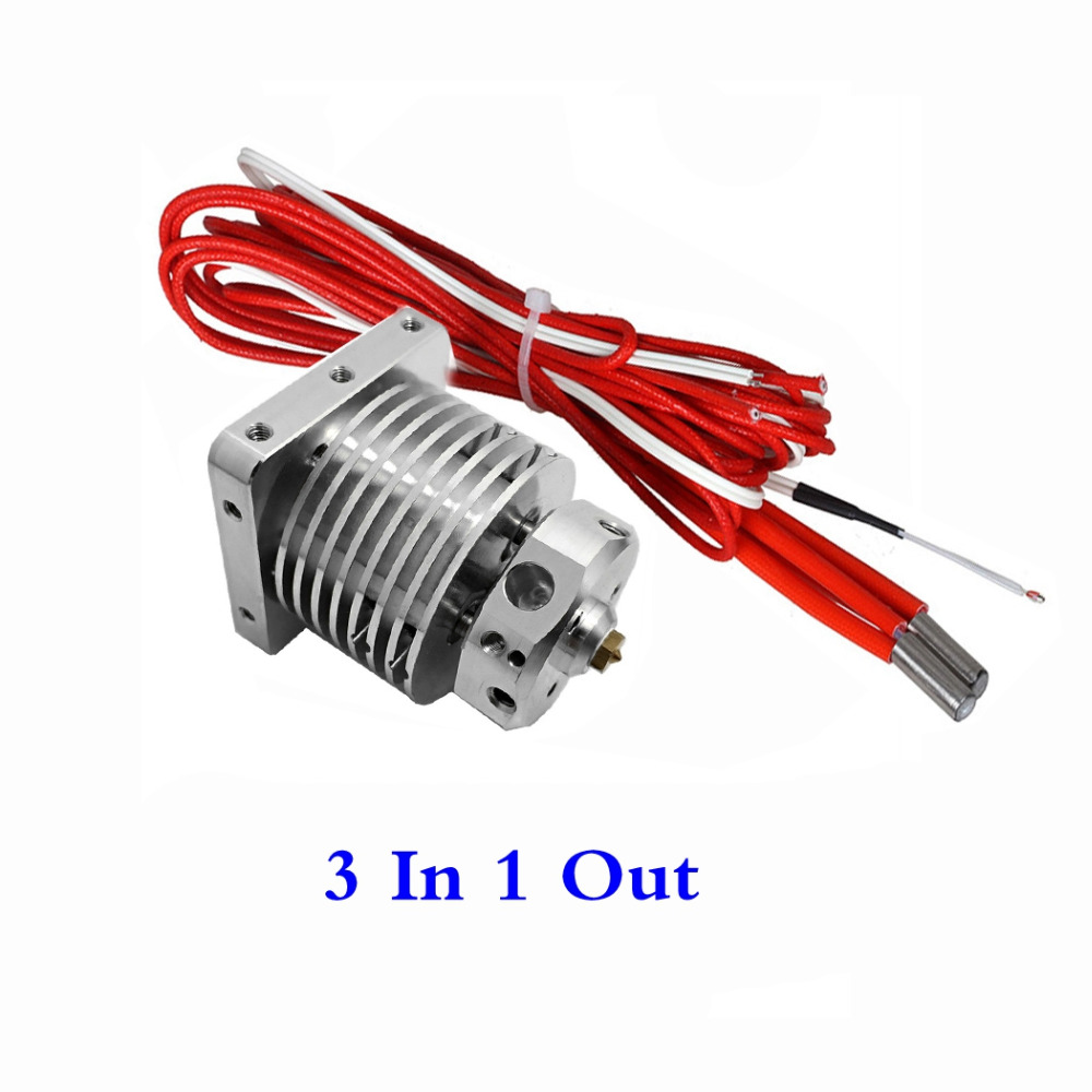 Upgrade 3D Printer Multi-extrusion 3 In 1 Out Hotend Multi Color Hot End 0.4mm/1.75mm,3 Colors Extruder Compatible Bulldog, MK8