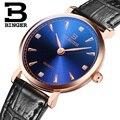 Mulheres relógios de luxo da marca suíça BINGER B9013W-7 ultrafinos relógios de Pulso de quartzo com pulseira de couro À Prova D' Água 1 anos de Garantia