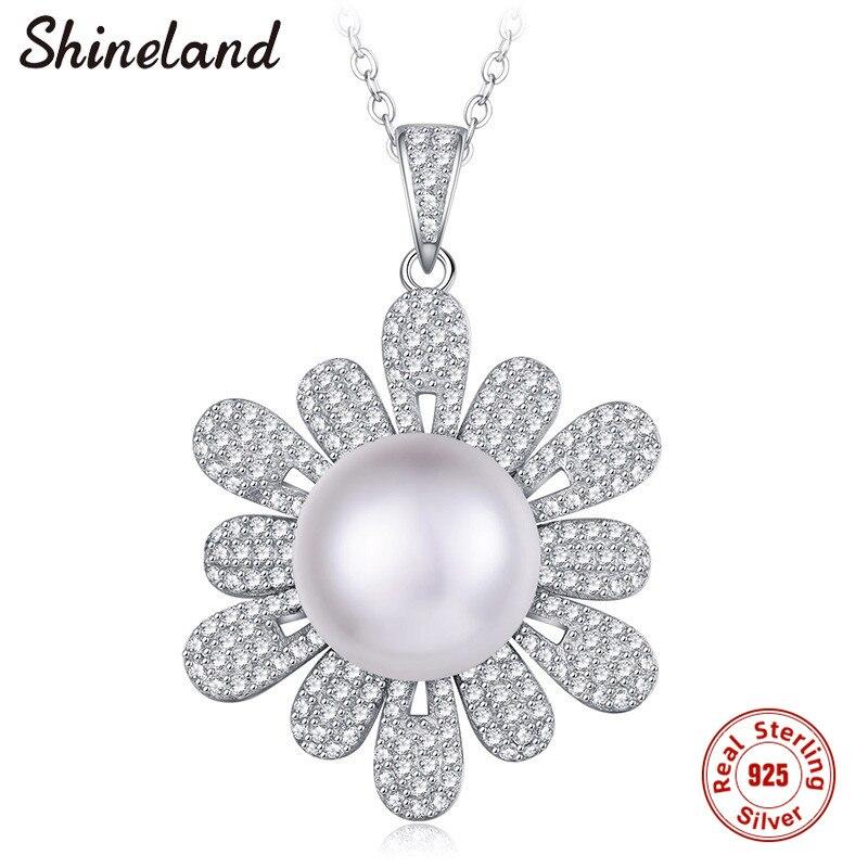 Shineland z pereł słodkowodnych AAA wisiorek z cyrkonią biżuteria 925 Sterling srebrny Link naszyjniki kobiety Party prezent ślubny w Naszyjnik z wisiorkiem od Biżuteria i akcesoria na  Grupa 1