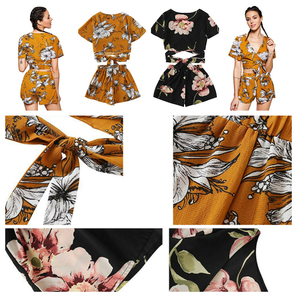 2 Piece Set Women 2019 New Summer Women Casual Floral Short Sleeve V-Neck Crop Tops+Loose Elastic Waist Shorts