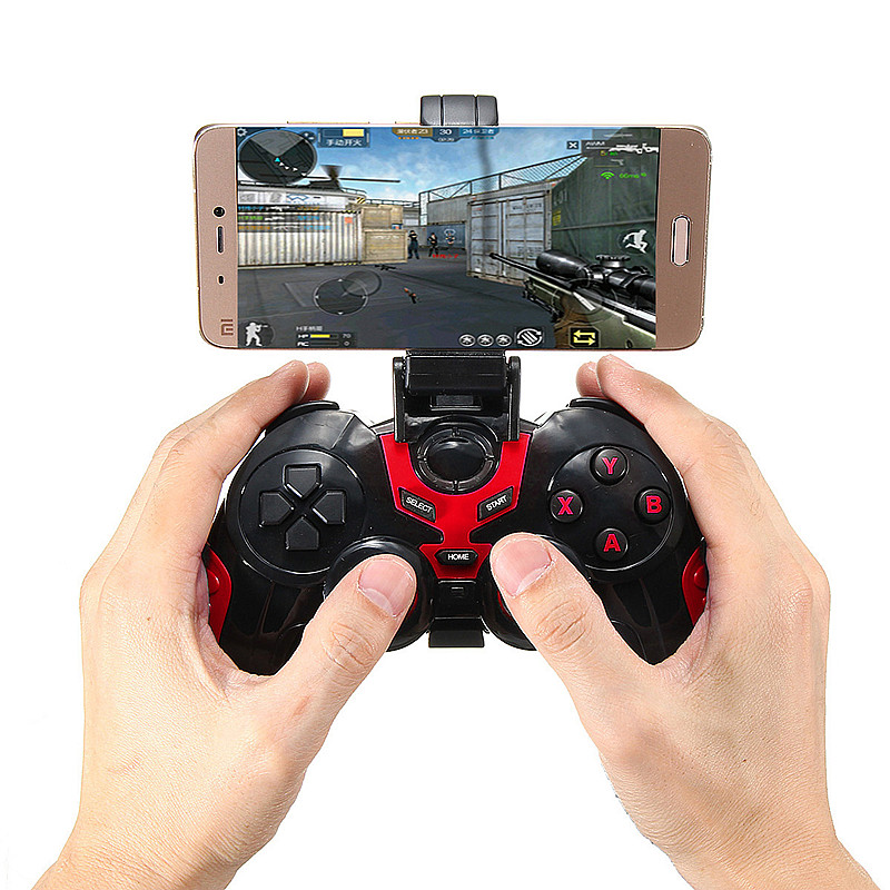 Bluetooth 3.0 Wireless 3 Modes Gaming Handle Controller Gamepad With Holder for Android for iOS Smartphone Tablet Tv Box Game