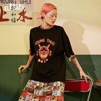 ELF SACK Fashion Letter Print Women T shirts 2019 Summer O Neck Oversize Female Tee Streetwear Casual Black Basis Femme Tops