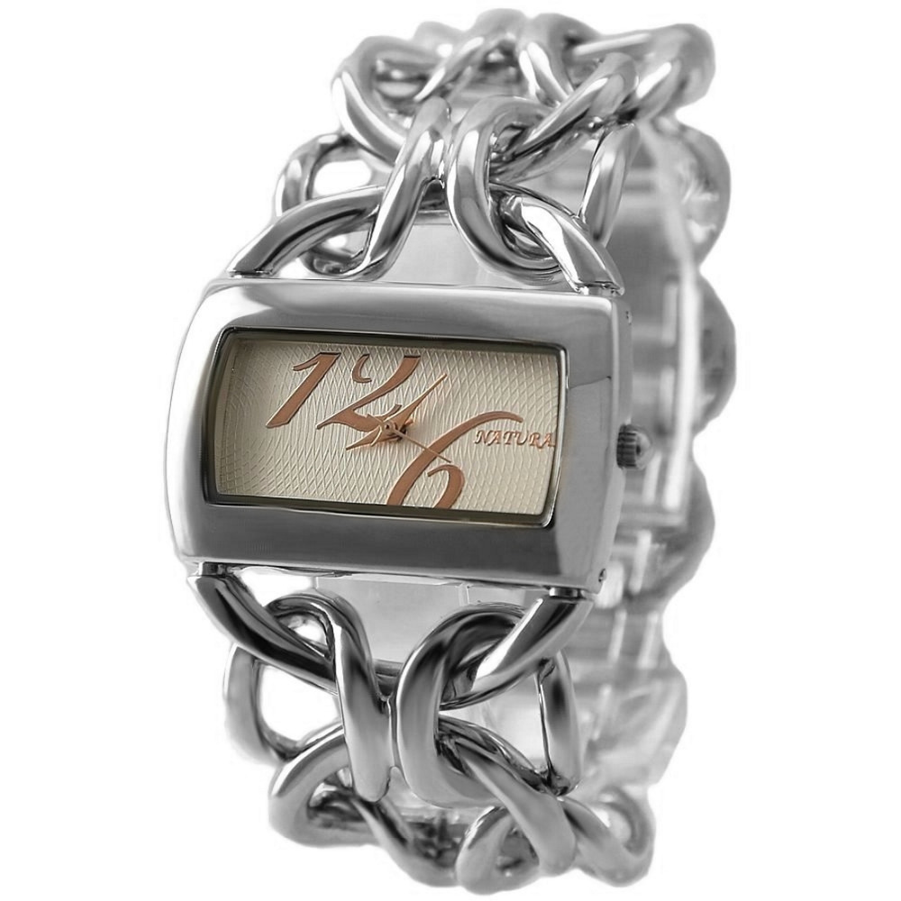 En gros 3 pièces. Lots japon PC21S Quartz bonne chaîne ton argent cadran élégant Bracelet montre FW675GDouble bijoux fermoir