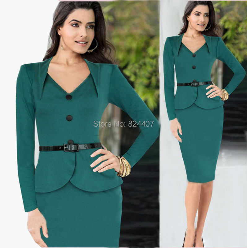 Women's V Neck Office Dress Work Wear For Business Ladies Formal ...