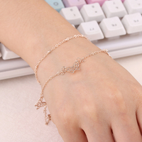 Top Quality Lady Style Butterfly Gold Color Fashion 2 layer Bracelet Chain ns15