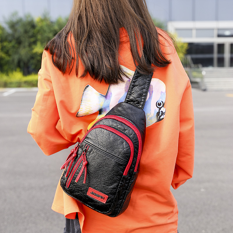 Lagemisay 2019 femmes sac à bandoulière lavé PU sac à bandoulière mode Zipper poitrine sac décontracté sacs à bandoulière dame voyage sac à main Packbag-in Taille Packs from Baggages et sacs    2