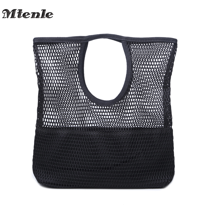 MTENLE Summer Bag Women Handbags Grid Hollow Out Canvas Beach Bag Female Casual Girls Ladies Hand bags Mesh Bags Bolsos Mujer FI japanese pouch small hand carry green canvas heat preservation lunch box bag for men and women shopping mama bag