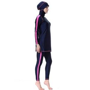 Image 3 - YONGSEN maillot de bain femmes, maillot de bain Hijab, grande taille, islamique, arabe, Patchwork, musulman couverture complète, maillot de bain musulman
