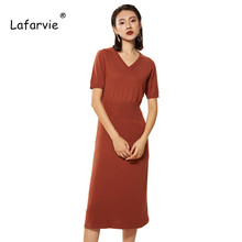 Lafarvie 2019 Spring and Autumn New Fashion Slim Cashmere Dress V-neck Short Sleeve Knit Solid Color Long Shirt Chinese Style