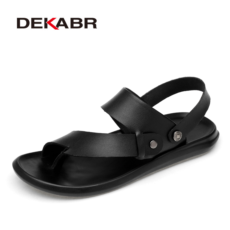 DEKABR Classic Men Sandals Comfortable Men Summer Casual Shoes Split Leather Big Size Soft Flip Flop Men Breathable Slippers(China)