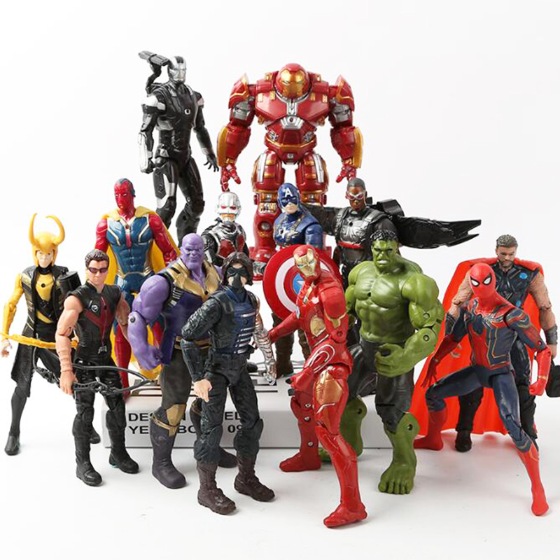 Super Heroes Avengers 3 Infinity War Movable Joints Thanos Black Panther Action Figures Kids Toys Gifts For Boy 17cm