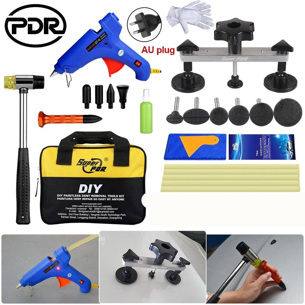 PDR Car Body Dent Lifter Puller 5pcs Glue Sticker Glue Gun Paintless Dent Repair Hail PDR Removal Tool Hand Too Set