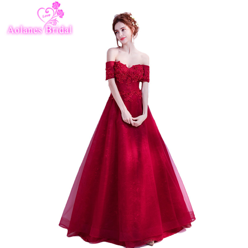2018 New Red Tulle Prom Dresses Boat Neck Floor-length Evening Dress A-line Off The Shoulder Dressy Dresses Vestido De Festa