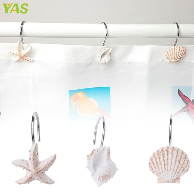 Fashion Design 12 Pcs Bathroom Decorative Seashell Shower Curtain Hooks Window Hangings Holder Nov22