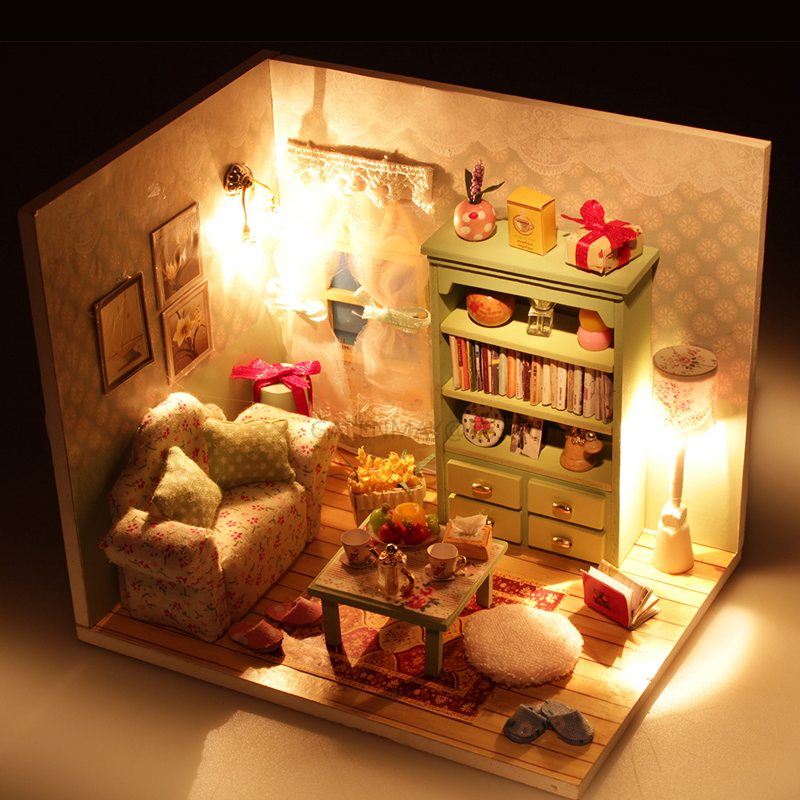 Model Building Diy 3d Wooden Building Dollhouse Miniature Assemble Puzzl Kits With Funitures Toys For Mm/gg Festival Handmade Creative Gifts Good For Antipyretic And Throat Soother