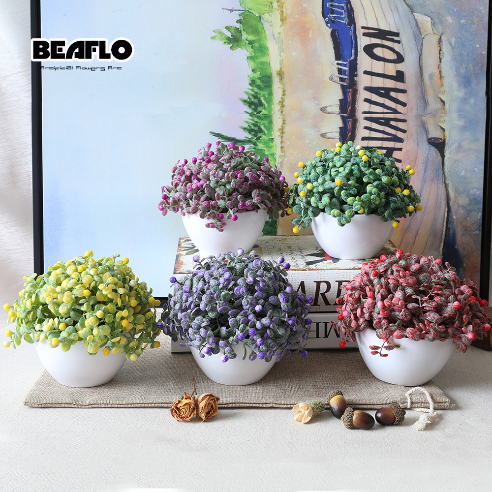 1Set Artificial Flower Fake Floral Potting bonsai for Wedding Home Party Decorative 5 colours B3104