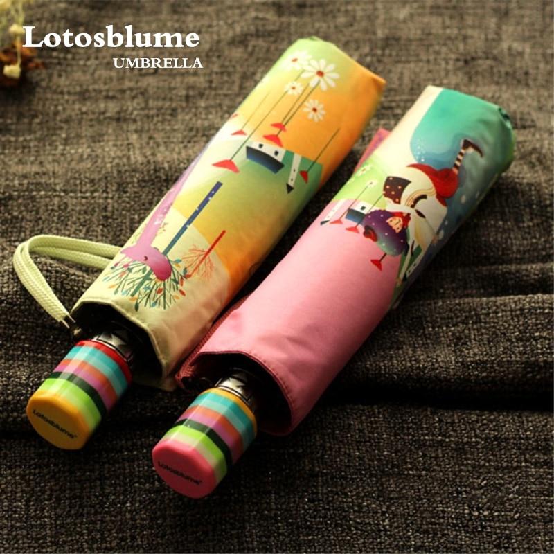 Lotosblume Brand Hot Sale New Fully Automatic Anti-UV For Women Gift Fashion Windproof Sun Rain Ladies Umbrellas