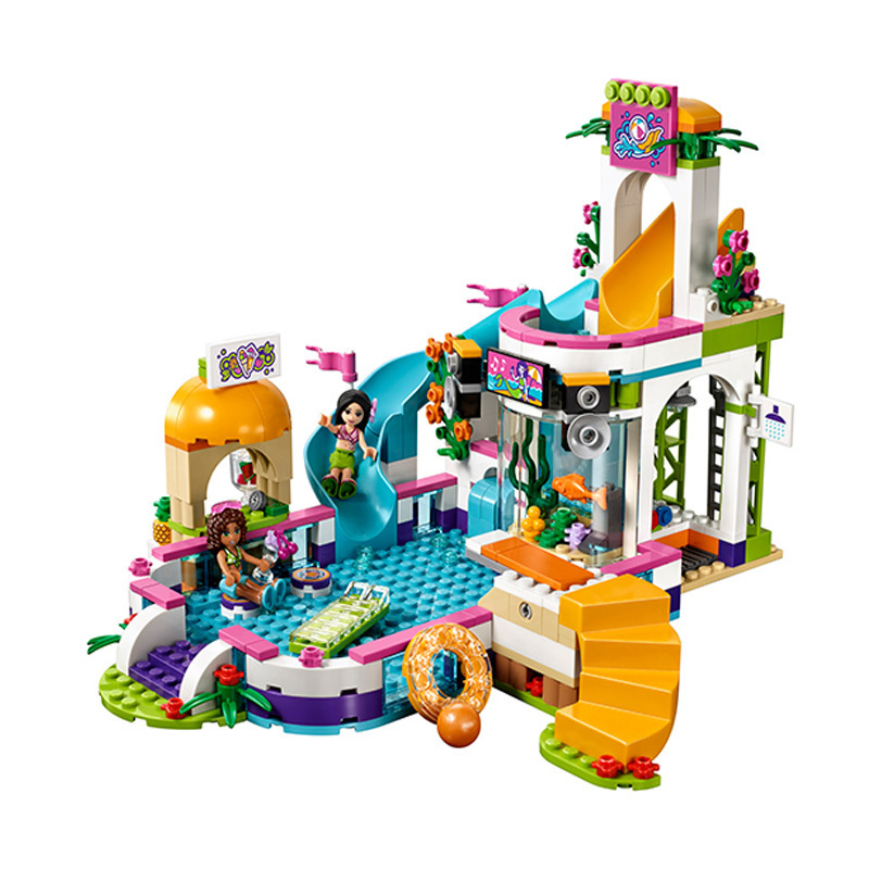 589pcs Diy Girl Friends The Heartlake Summer Pool Compatible With playmobil Figures Building Blocks Bricks Toys For Children kid