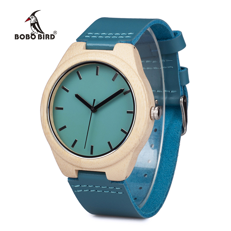 BOBO BIRD V-F20 Bamboo Wooden Watch Mens Top Luxury Band Quartz Watch with Leather Band as Gift Item Watches Men