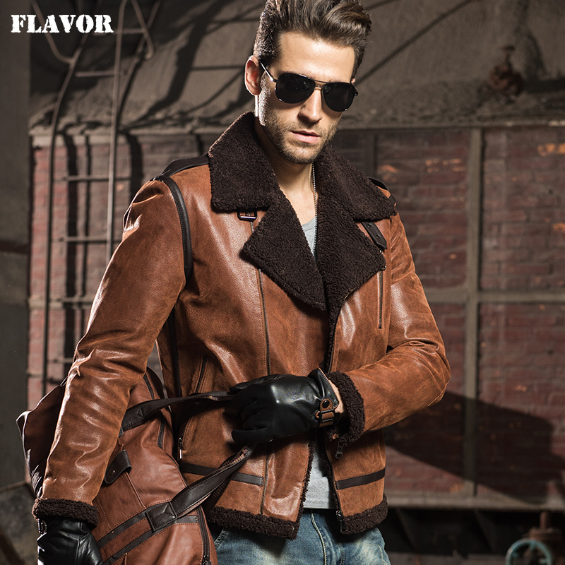 Men s Genuine Leather pigskin motorcycle real leather jackets with faux fur shearling aviator bomber jacket Innrech Market.com