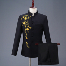 New Chinese Style Fashion Mens Stand Collar Stage Show Dress Suits Tunic Two Piece Set Costume with Embroidery Jacket+pant