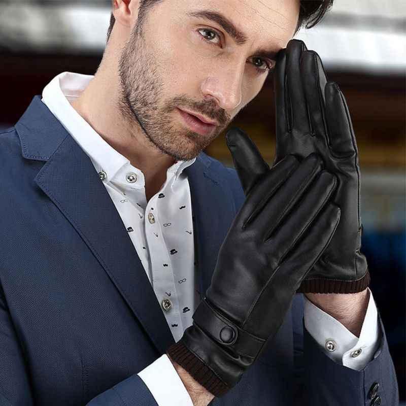 126eb15b99cc1 ... Men Women Warm Winter Gloves Washed Leather Black Leather Gloves Male  Leather Gloves Winter Gloves Men