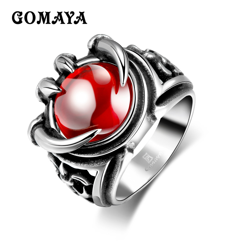 GOMAYA Mens Vintage Punk Dragon Claws Rings with Red Large Crystal Gothic Biker Knight Jewelry Stainless Steel Bague