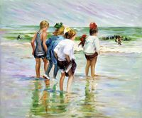 Portrait Art for Home Decor Summer Day, Brighton Beach Edward Potthast Canvas Wall Painting Hand Painted Impressionist