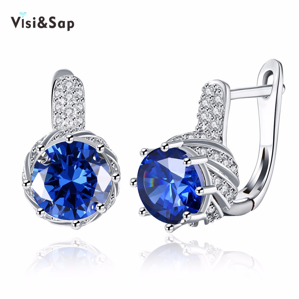Visisap Blue Round Micro Inlay Cubic Zirconia Hoop Earrings For Lovers Women Romantic Jewelry Earring White Gold Color VKZCE157