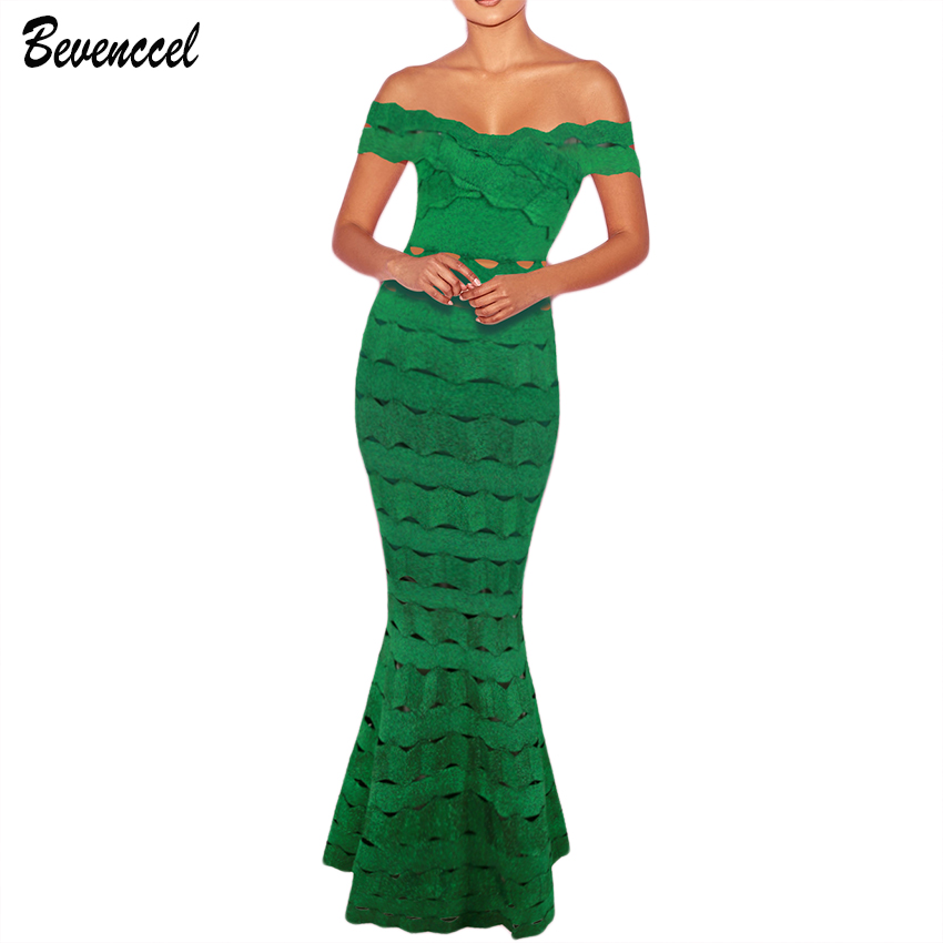2019 New Elegant Summer Celebrity Party Dresses Sleeveless Slash Neck Jacquard Maxi Dress Vestidos Green Bandage