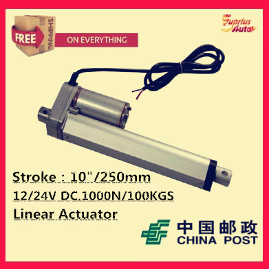 цена на Free Shipping high quality 12v linear actuator with 10inch/ 250mm stroke 225lbs/ 1000N load actuator linear speed of 10mm/s
