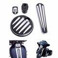 CNC Corte Profundo Traço Traço Porta Do Tanque de Combustível Da Motocicleta Preta faixa de Inserção de Ignição Cap Para Harley FLTRX Touring FLHX 2014-2017 C/1