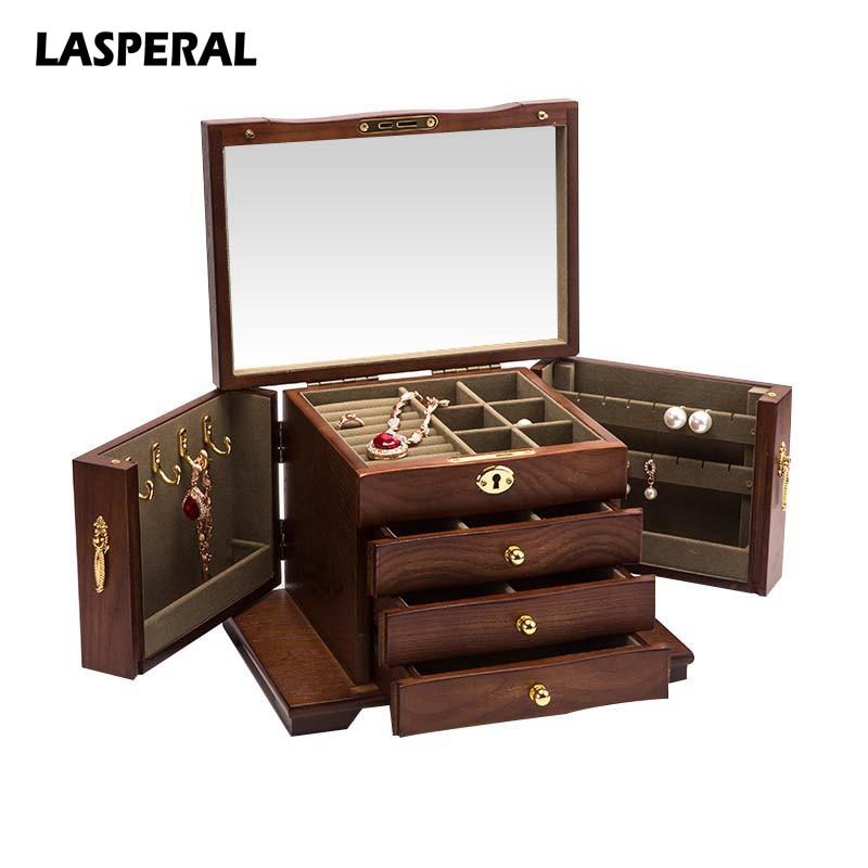 MJARTORIA Vintage Multi Drawer Wood Jewelry Box Casket for Decoration Sundries Earrings Jewelry Organizer Mirror Storage Box