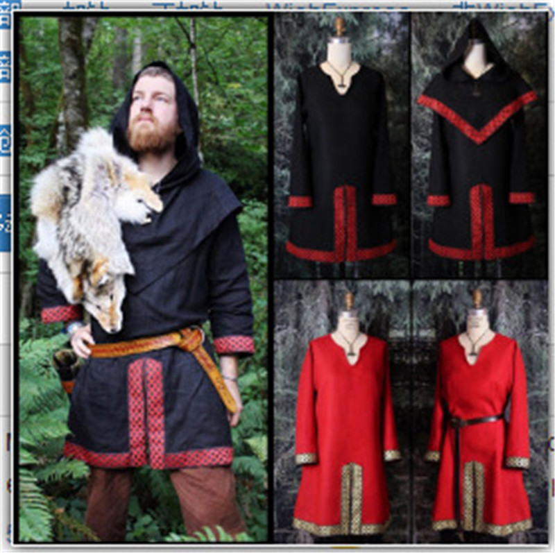 MEDIEVAL Clothing CELTIC VIKING Red Tunic With Surcoat Renaissance LARP SCA