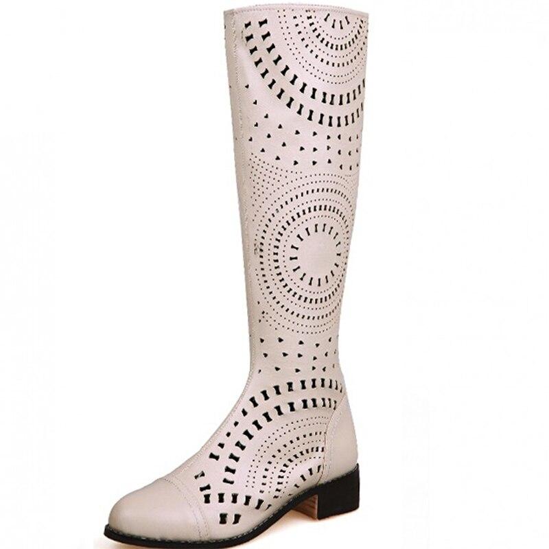 Echtes Leder Low Heels Frauen Cut Out Knie Hohe Sandalen Stiefel Frau Ritter Sommer Lange Ausschnitt Mode Stiefel Größe 34  39 SXQ0509-in Kniehohe Stiefel aus Schuhe bei  Gruppe 1