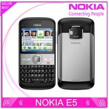 Freies Verschiffen Ursprünglicher Freigesetzter Nokia E5 5MP Kamera 3G netzwerk Russische tastatur Russische languge handys Schnelle