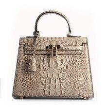 2017 Vintage Frauen Lady Luxury Designer Echtem Leder Alligator Verriegeln Rindsleder Handtaschen Handtasche Schultertasche Messenger Taschen